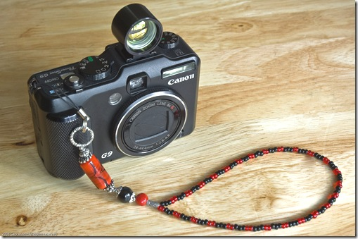 Beaded Camera strap on a Canon G9 from Luxury Beads